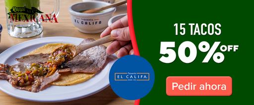 El Califa 15 tacos 50% OFF