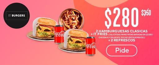 $ 280  2 hamburguesas clasicas + it fries ( deliciosas papas fritas bañadas en queso cheddar y crujiente tocino espolvoreado.) + 2 refrescos