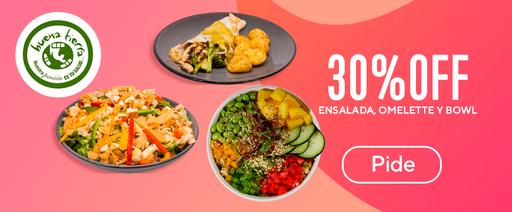30% OFF ensalada omelette y bowl