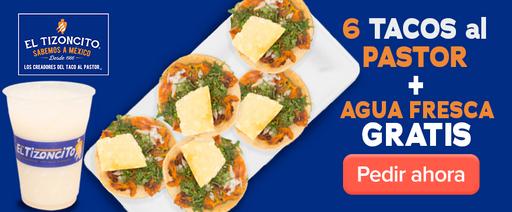 6 Tacos al pastor + agua fresca gratis