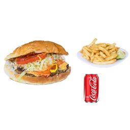 Hamburguesa al Carbón + Papas y refresco
