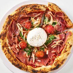 Pizza burrata especial.