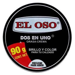 Grasa-Crema El Oso Para Calzado Negro Dos en Uno 90 g
