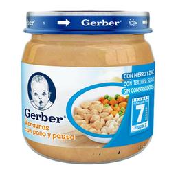 Papilla Gerber Etapa 2 Verduras Con Pollo y Pasta Frasco 113 g