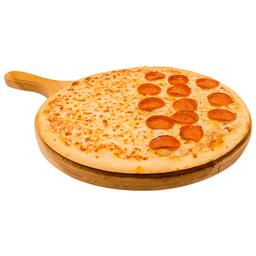 Pizza monstruo mitad pepperoni/dobleques