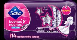 Toallas Femeninas Saba Buenas Noches Extra Largas Con Alas 14 U