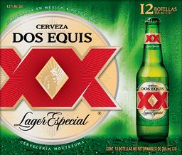 Cerveza Dos Equis Lager Clara Botella 355 mL x 12