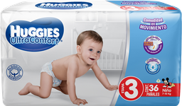 Pañal Huggies Ultraconfort Niño Etapa 3 Flexible y Suave 36 U