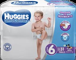 Pañal Huggies UltraConfort Etapa 6 Para Niño 31 U