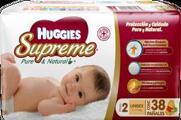 Pañales Huggies Supreme Etapa 2 Pure & Natural 38 U