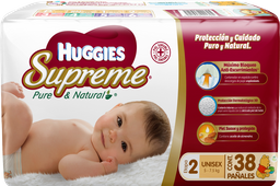 Pañales Huggies Supreme Etapa 2 Pure & Natural 38 U