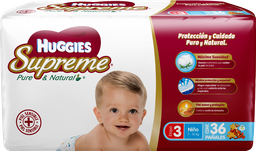 Pañales Huggies Supreme Etapa 3 Pure & Natural Niño 36 U