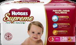 Pañal Huggies Supreme Pure & Natural Etapa 3 Niña 36 U