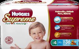 Pañal Huggies Supreme Pure & Natural Etapa 4 Niño 36 U