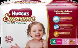 Pañales Huggies Supreme Pure & Natural Etapa 4 Niña 36 U