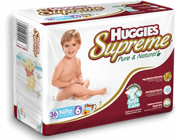 Pañales Huggies Supreme Pure & Natural Etapa 6 Niño 36 U