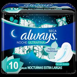 Toallas Femeninas Always Ultrafina Noche 10 U