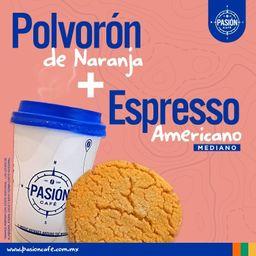 Espresso Americano Mediano Mas Polvoron de Naranja