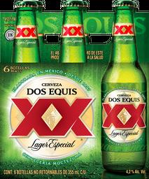 6 Pack Cerveza Dos Equis Lager Botella 355 mL