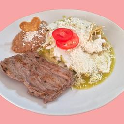 Chilaquiles con Arrachera
