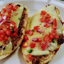 Molletes de jamón y queso