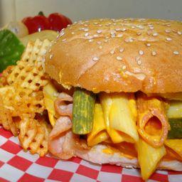 Hamburguesa mac y cheese