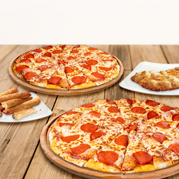 2 pizzas grandes y 2 complementos
