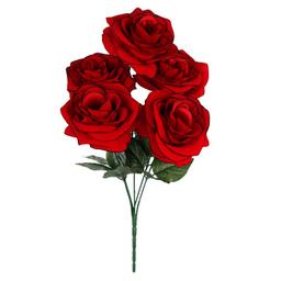 Ramo Rosas Terciopelo X5 40 cm Rojo/Negro