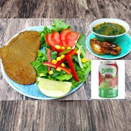 Paquete Milanesa, Sopa Vegana y Bebida