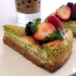 Cheesecake de Matcha Rebanada