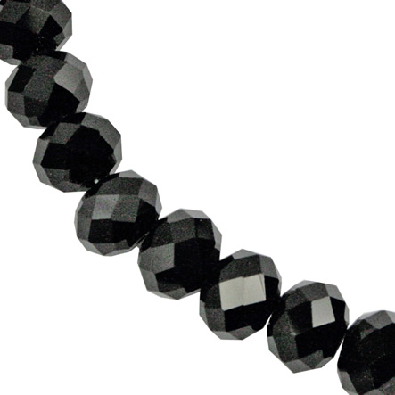 Cuenta Rondel Color 8x10 mm Hilo 31 cm (aprox 42 U) Negro