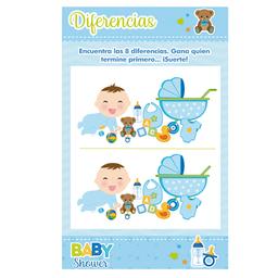 Juego Baby Shower Niño Encuentra Las Diferencias 10 U Azul