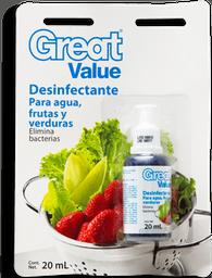 Desinfectante Great Value Para Agua Frutas y Verduras 20 mL