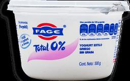 Yoghurt Fage Estilo Griego Natural sin Grasa 500 g