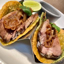 Tacos de Lengua Flameada Al Mezcal