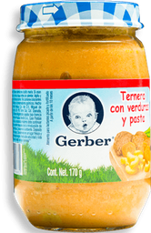 Papilla Gerber Etapa 3 Ternera Con Verduras y Pasta 170 g