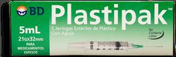 Jeringa BD Plasticoipak 21 g X 32 mm 5 U
