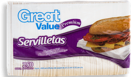 Servilletas Great Value Premium Bolsa 250 U