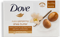 Jabón Dove Purely Pampering Shea Butter Barra 100 g x 4