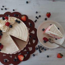 Rebanada Pastel D Frambuesa y Mascarpone