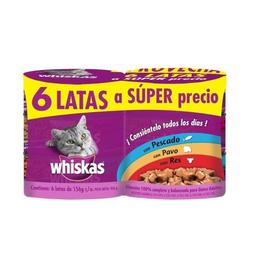 Alimento Para Gato Whiskas Varios Sabores 156 g x 6