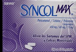 Antiespasmódico Syncol Max 12 Comprimidos (650 mg/60 mg/15 mg).