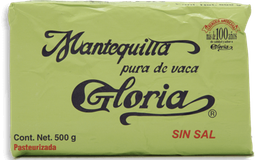 Mantequilla Gloria sin Sal Barra 500 g