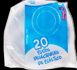Platos Great Value Desechables de Plástico Tamaño 5 Bolsa 20 U