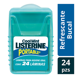 Enjuague Bucal Listerine Portable Láminas Cool Mint Con 24U