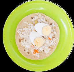 Taco de Huevo Cocido con Arroz