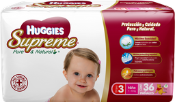 Pañales Huggies Supreme Pure & Natural Etapa 3 Niña 36 U