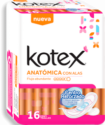 Toalla Femenina Kotex  Anatómica Con Alas 16 U