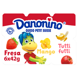 Queso Petit Suisse Danonino Fresa Mango Y Tutti Frutti 6 X 42G