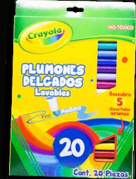 Plumones Crayola Delgados Lavables Varios Colores 20 U
